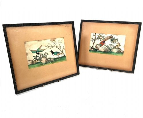 Antique Chinese Rice / Pith Paper Watercolour Painting Pair Birds of Paradise
